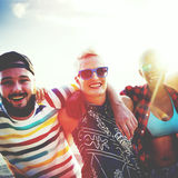 Diverse People Friends Fun Bonding Beach Summer Concept Royalty Free Stock Photography