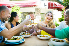 Diverse People Friends Hanging Out Drinking Concept Stock Images