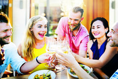 Diverse People Friends Hanging Out Drinking Concept stock photos