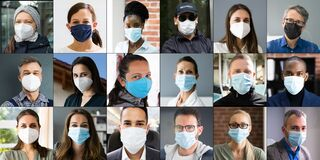 Free Diverse People Group Wearing Face Mask Stock Images - 215624154