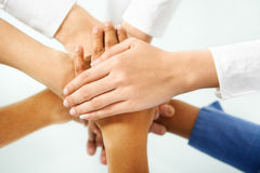 Diverse people hand in unity Royalty Free Stock Photos