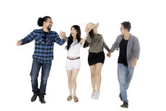 Diverse people holding hands with each other Stock Photo