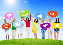 Diverse People Holding Social Network Symbol Stock Photos