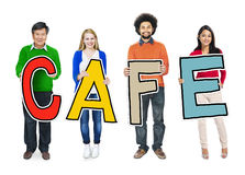 Diverse People Holding Text Cafe Stock Photos