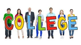 Diverse People Holding Text College Stock Image