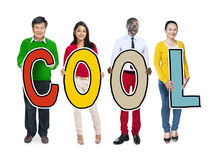 Diverse People Holding Text Cool Stock Photography