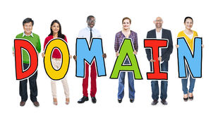 DIverse People Holding Text Domain Stock Photography