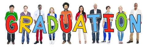Diverse People Holding Text Graduation Royalty Free Stock Photo
