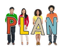 Diverse People Holding Text Plan Stock Photos