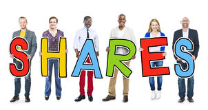 Diverse People Holding Text Shares Royalty Free Stock Photo