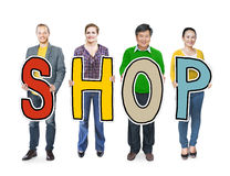 Diverse People Holding Text Shop Royalty Free Stock Images