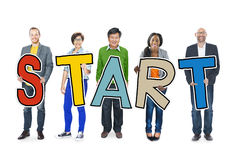 Diverse People Holding Text Start Stock Images