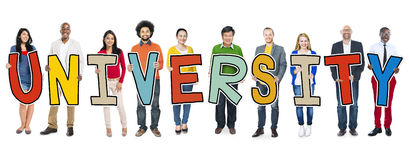 Diverse People Holding Text University Royalty Free Stock Photography