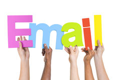 Diverse People Holding Word Email Royalty Free Stock Images