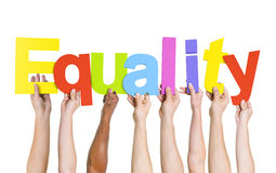 Diverse People Holding Word Equality.  royalty free stock image