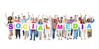 Diverse People Holding Word Social Media Stock Photos