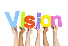 Diverse People Holding Word Vision Royalty Free Stock Photos