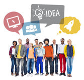Diverse People and Idea Concept Isolated on White Royalty Free Stock Photo