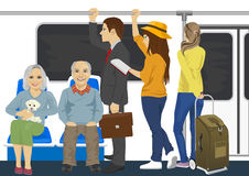 Diverse people inside metro subway train. Diverse people inside a metro subway train Royalty Free Stock Images
