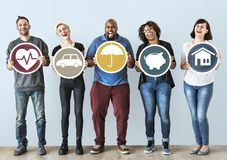 Diverse people with insurance protection plan stock images