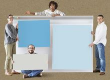 Diverse people with internet browser mockup royalty free stock image