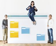 Diverse people with internet browser mockup stock images