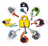 Diverse People with Lock and Keys Symbols Stock Photography