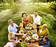 Diverse People Luncheon Food Garden Concept Stock Photography