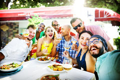 Diverse People Luncheon Outdoors Food Concept Stock Photos