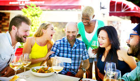 Diverse People Luncheon Outdoors Food Concept.  Stock Image