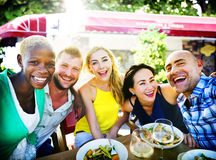 Diverse People Luncheon Outdoors Food Concept Stock Photography
