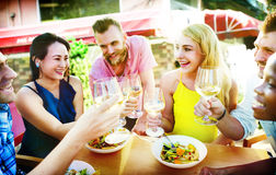 Diverse People Luncheon Outdoors Food Concept.  Royalty Free Stock Image