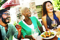 Diverse People Luncheon Outdoors Food Concept Stock Images
