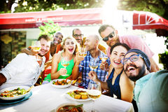 Diverse People Luncheon Outdoors Food Concept Royalty Free Stock Photography