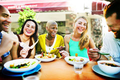 Diverse People Luncheon Outdoors Food Concept Stock Image