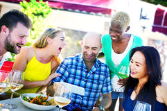 Diverse People Luncheon Outdoors Food Friendship Concept Stock Image