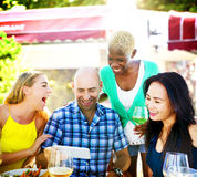Diverse People Luncheon Outdoors Food Friendship Concept Royalty Free Stock Photography