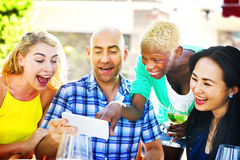 Diverse People Luncheon Outdoors Food Friendship Concept Royalty Free Stock Photos