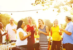 Diverse People Luncheon Outdoors Hanging out Concept Stock Photos