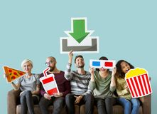 Group of diverse friends and movie download concept stock image