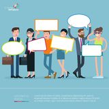 Diverse people opinion template. Flat design diverse people opinion vector presentation and infographic template. Men and women office formal and casual style Royalty Free Stock Image
