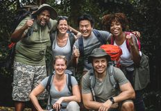 Diverse people out for trekking together stock photo