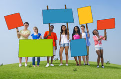Diverse People with Placards and Billboards Royalty Free Stock Photos
