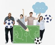 Diverse people planning a strategy for a football game Royalty Free Stock Photography