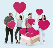 Diverse people with red heart shape icons
