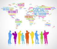 Diverse People's Colorful Silhouettes Global Communication.  Royalty Free Stock Photo