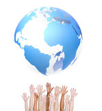 Diverse People's Hands with the Globe Stock Image
