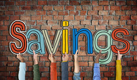Diverse People's Hands Holding Savings Royalty Free Stock Images