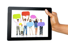 Diverse People with Social Media Communication Stock Photo