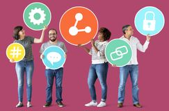 Diverse people with social media icons Royalty Free Stock Images